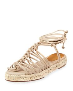 """Chloe knotted napa leather espadrille sandal. 1"""" flat heel. Open toe. Caged vamp. Self-tie ankle-wrap. Braided-jute midsole. Made in Spain of Italian material."""