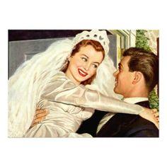 De vintage Bruid van het Huwelijk en Bruidegom, Ge Uitnodigingen