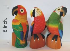The Trio - Set of 3 Jungle Parrots - Hand Carved Balsa Wood Fine Artisanry - Handmade Parrot Carvings - Decorative Birds by JungleBirds. $38.99. These balsa wood carvings are made by hand with exotic colors and designs inspired in the flora and fauna of the Amazon rainforest.. The Trio is a set conformed by 3 handmade pieces which are 8 inches tall each. This unique set was carved just for you in resemblance of the Scarlet Macaw, the Red-lored Amazon, and the Saffron-he...