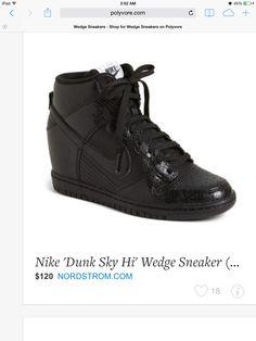 Nike Dunk Sky Hi High Concealed Wedge Sneaker Black Leather Snake Embossed  7 US 189 59bb3fbc9a