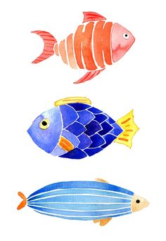 Watercolor Fish by The JanuaryJane Watercolor Fish, Watercolor Animals, Watercolor Cards, Watercolor Illustration, Watercolor Paintings, Simple Watercolor, Tattoo Watercolor, Watercolor Trees, Watercolor Background