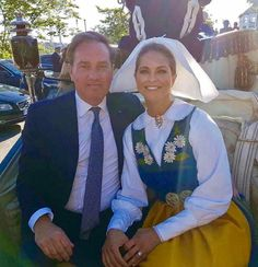 """monmonandtheroyals:  """"""""Picture of Chris and I before the carriage procession through the streets of Stockholm!"""" Princess Madeleine on Facebook  """""""