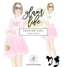 Fashion Girl Clip Art, Glam Life, Fashion Illustration, High Heels and Skirt Hand Drawn Digital Clip Art, 2 Individual PNG Designs, 300 DPI by DosBesosDesigns on Etsy