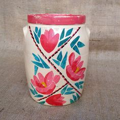 Vintage Pottery Crock Stoneware Handpainted by ChattCatVintage
