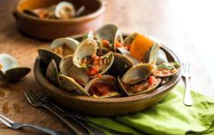Pequin Chili Salt + Steamed Clams in Spicy Tomato Sauce via NYT