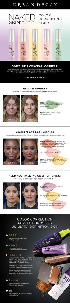 Urban Decay Naked Skin Color Correcting Fluid: Correct imperfections and play up your best features. (How To Make Makeup Concealer) All Things Beauty, Beauty Make Up, Hair Beauty, Beauty Secrets, Beauty Hacks, Beauty Tips, Color Correcting Concealer, Corrective Concealer, Makeup Tutorials
