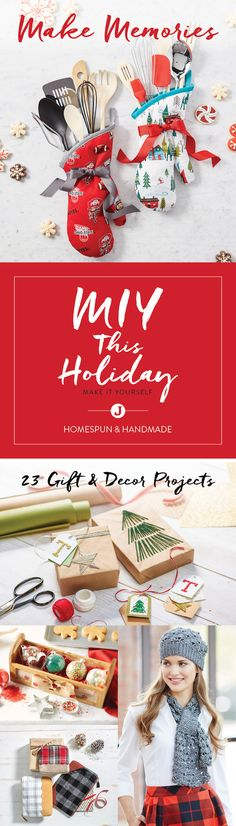 From festive oven mitts and ornaments to cozy knit hats and scarves, the handmade projects you tackle this season can make the holidays extra special. Find the inspiration to make it yourself in Jo-Ann's Homespun and Homemade Holiday Maker's Guide.
