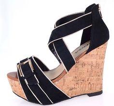 Amazon.com: Strappy Buckle Cork Platform Wedge Sandal Women Shoes Black: Shoes