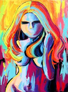 Original abstract oil painting of female nude in bold, vibrant neon hues. Original available for purchase - https://www.etsy.com/listing/101907477/original-abstract-oil-painting-female