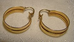 10K Yellow Gold Classic Wide Hoop Earrings by FionaKennyAntiques