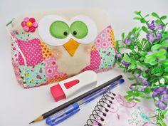 Estojo escolar corujinha em feltro Owl pencil case, felt