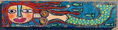 Tracey Ann Finley Original Outsider Folk Art Painting Red Hair MERMAID Fish wood: She's got bottle cap boobs!