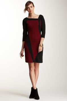 3/4 Sleeve Print Combo Dress on HauteLook