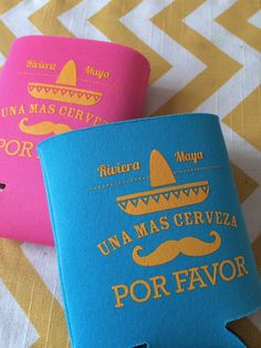 Moustache Sombrero Fiesta koozies Mexico by RookDesignCo on Etsy