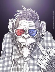 grafika Granola granola e carboidrato Art And Illustration, Dope Kunst, Street Art, Monkey Art, Dope Art, Trippy, Art Drawings, Character Design, Artsy