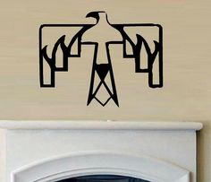 vinyl wall decal Native american Thunderbird symbol primitive distressed