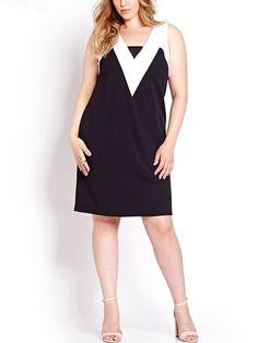 b02efa6247c Women s Plus Black Block Contrast Neck Sleeveless A-line Dress clothes