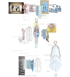 Fashion Sketchbook - fashion design development of a pleated denim raincoat; fashion illustrations & prototyping; fashion portfolio // Hannah Bellamy