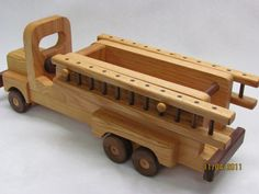 Firetruck Wooden Toy beautifully detailed heirloom by mikebtoys, $59.95