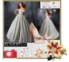"""""""Ball Gown Strapless Court Train Sleeveless Taffeta White Wedding Gown with Applique"""" by buyweddinggowns on Polyvore"""