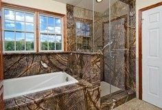 Photo of Eclectic Man Cave Bathroom Ideas With Rainforest Brown Granite Tub Surround And Shower Wall from gallery of Superb Man Cave Room Ideas. Eclectic man cave bathroom ideas with rainforest brown granite tub surround and shower wall Camo Bathroom, Man Cave Bathroom, Man Cave Room, Bathroom Ideas, Bathroom Goals, Bathroom Organization, Camo Furniture, Bathroom Furniture, Dream Furniture