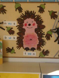 Leuk bij kern 2 van vll, woordje oog onbreekt nog. Egel gemaakt van handjes van de kinderen van de overige handjes eikels gemaakt. Leuk voor op je prikbord of deur in de klas.