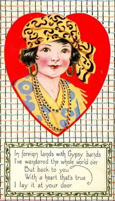 Vintage gypsy-theme Valentine.* Free paper dolls at Arielle Gabriel's The International Papef Doll Society and The China Adventures of Arielle Gabriel the huge China travel site by Arielle Gabriel *