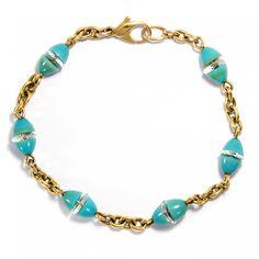Farbenfrohes Art Déco - Antikes Armband aus Gold, Türkisglas & Bergkristall, um 1940 von Hofer Antikschmuck aus Berlin // #hoferantikschmuck #antik #schmuck #antique #jewellery #jewelry