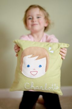 Personalized Pillow - Girl or Boy - Pillow Cover PLUS Insert. $59.00, via Etsy.