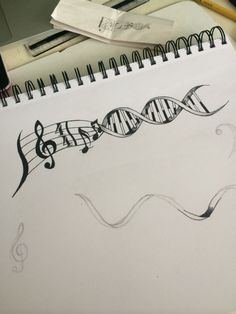 Science meets music! This tattoo concept was drawn for a friend. Music may just be a part of his DNA... by Andrea Iensen Mazza