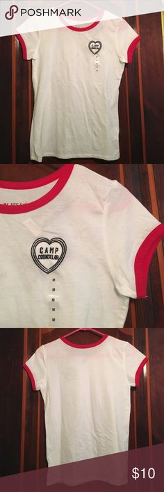 T shirt with patch White t shirt with red trim, heart patch that says camp counselor. New, never worn jcpenney Tops Tees - Short Sleeve