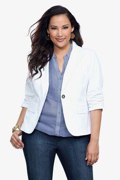 Plus Size One Button Blazer Color: Black, White