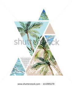 Abstract summer background. Triangle with palm tree, leaf and marble grunge textures. Geometric design for t-shirt, flyer or poster in retro vintage 80s, 90s. Hand painted summer beach illustration