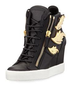 91b4d3be8ae3 S0CKB Giuseppe Zanotti Metallic Wing Leather High-Top Wedge Sneaker