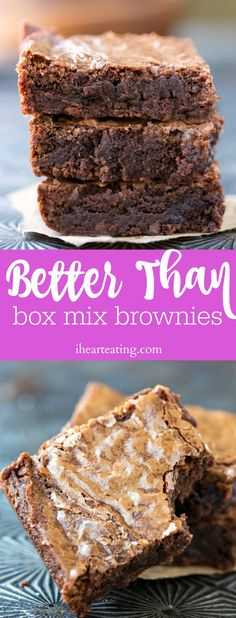 Make box mix brownies at home with this Better Than Box Mix Brownie recipe that gives you fudgy/chewy brownies with a perfect, shiny crust.