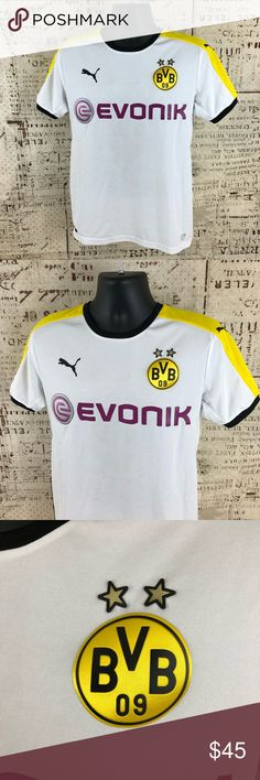 Puma BVB Borussia Dortmund Futbol Soccer Jersey •Item is in Great pre-owned condition!  •Size- Mens Medium   •Measurements: •P2P- 19   •S2C/S- 8  •Length-26  •All Orders Ship Next Business Day With Cleared PayPal Payment.  •I strive to bring you the best customer experience one interaction at a time.  Msg with any questions! Thanks   THANK YOU FOR YOUR INTEREST! Puma Shirts Tees - Short Sleeve