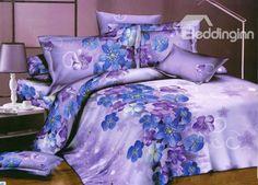 Little Blue and Purple Flower Print 4 Piece Bedding Sets/Duvet Cover Sets