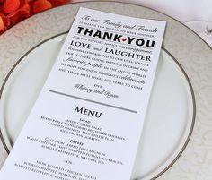 Wedding Reception Menu and Thank You Card by GrandDesignsbyJoanna, $15.00
