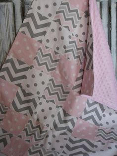 Patchwork Pink Gray White Chevron and Dots Baby Girl Blanket with Minky