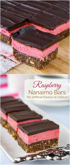 Raspberry Nanaimo bars - A delicious twist on a classic Canadian cookie bar treat. The have no artificial colours or flavours & they're no-bake too! Another addition to our great collection of A raspberry twist on a Canadian classic cookie bar treat. Nanaimo Bars, Köstliche Desserts, Delicious Desserts, Dessert Recipes, Dessert Aux Fruits, Christmas Baking, Christmas Cookies, Christmas No Bake Treats, Flan