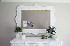 Fabric cork board + painted frame