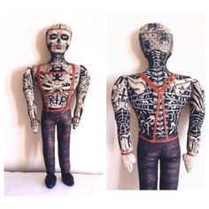 Rick Genest Ricko Zombie Boy, handmade textile doll, tattoed toy