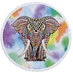 This trendy & fashionable Indian elephant roundie (round towel) can also be used as a shawl, throw, tablecloth, or even a wall tapestry!  #roundie #roundtowel #indian #elephant #multicolored #pastel #boho #bohemian #trendy