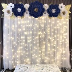 2 of Navy Blue, White and Gold Paper Flower Backdrop by CynDetails (IG CynDetails) mountain wedding fall, mountain wedding decor, mountain themed wedding, Quinceanera Decorations, Birthday Decorations, Baby Shower Decorations, Wedding Decorations, Wall Decorations, Parties Decorations, Quinceanera Party, Decoration Party, Backdrops For Parties