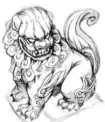 Komainu art tattoo Japanese