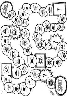 Ein Spielfeld mit Übungen zur Mundmotorik das sich bei der Therapie einer myofunktionellen Störung einsetzen lässt. Benötigt werden noch Spielfiguren und e Therapiematerial für die Logopädie zu myofunktionelle Störung auf madoo.net