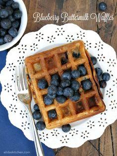 An easy recipe for Blueberry Buttermilk Waffles   http://alidaskitchen.com