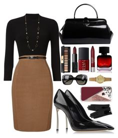 """Untitled #36"" by xlxesh ❤ liked on Polyvore featuring Phase Eight, Casadei, Prada, NARS Cosmetics, Yves Saint Laurent, Revlon, The Collection by Phuong Dang, Bottega Veneta, Casetify and Emporio Armani"