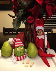 """26 Likes, 3 Comments - Jack The Elf On The Shelf (@jack_the_elf_01) on Instagram: """"Day 3: Mr. Pear-Grinch Maybe Christmas, he thought, doesn't come from a store. Maybe…"""""""