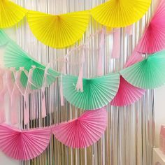 Pink Paper Fan Garland - honeycomb decor tissue fan bunting - Photo Backdrop wedding baby shower girl flamingo first birthday valentineHang this bunting-style garland along a table or wall for a simple statement, or layer with other garlands for a mo Yellow Paper, Pink Paper, Black Paper, White Paper, Birthday Wall, Diy Birthday, Tissue Garland, Diy Paper Bunting Garland, Rainbow Paper